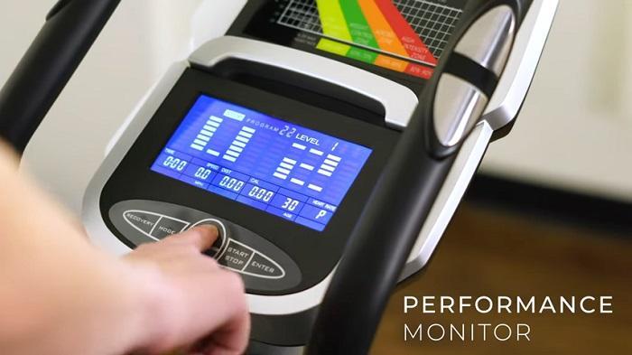 demonstration of sunny health elliptical monitor