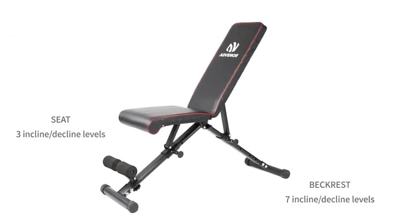 ADVENOR Adjustable Weight Bench with adjustable seat