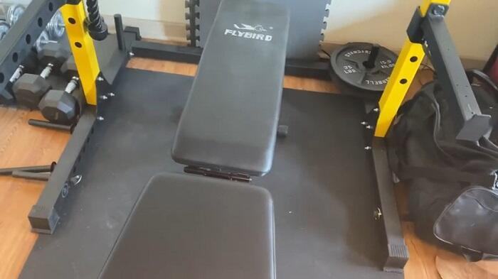 flyvird adjustable weight bench inside power rack