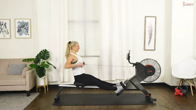 indoor rowing on sunny health air rower