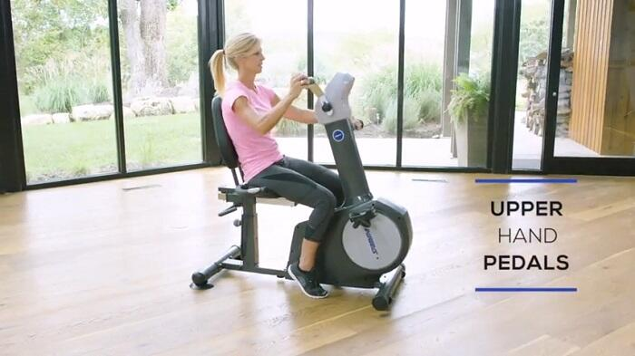 woman exercising on stamina elite recumbent bike