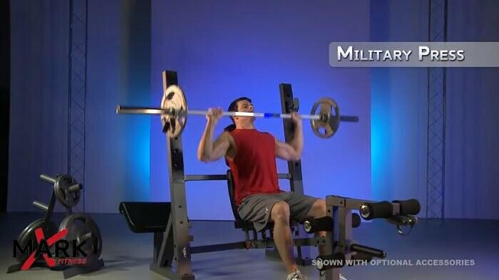 xmark olympic bench in full incline position