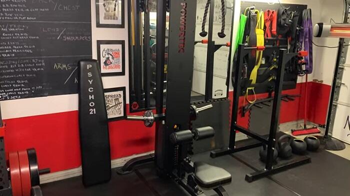 powertec lat machine in home gym