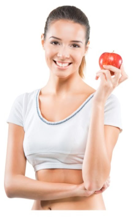 fit young woman holding an apple